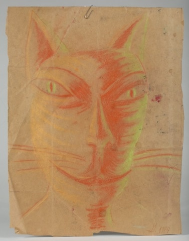 Untitled pastel cat on a brown paper bag. Initialed G. 1984. Estimated value: $20-$30