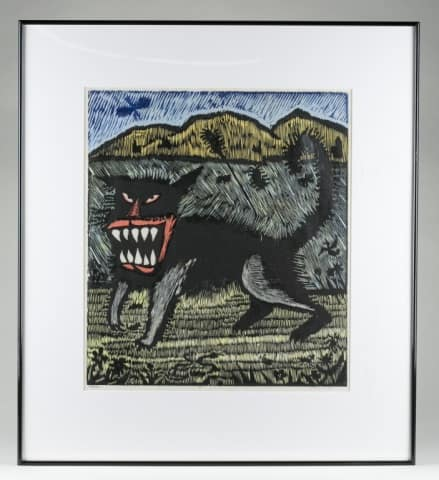 """Harry G. Taylor (United States/Utah, b. 1918). """"Mouser"""". 1992. Color woodcut. Estimated value: $200-$400"""