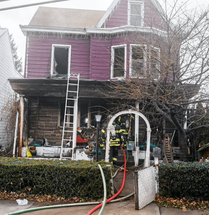 ANDY MATSKO/REPUBLICAN HERALD Pottsville firefighters work on a house fire Wednesday